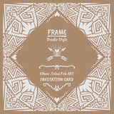 Abstract Doodle vector tribal ethnic style frame Royalty Free Stock Photo