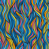 Abstract doodle wave seamless pattern. Royalty Free Stock Images