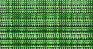 Abstract dot glitter sparkle green binary digital code, computer generated seamless loop abstract motion black background. New technology concept stock footage