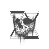 Abstract dot work grunge skull tattoo design. Abstract dot work grunge skull with triangle geometric elements. Template for tattoo or T-shirt print. Vector Royalty Free Stock Images