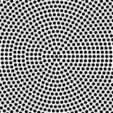 Abstract dotted background in circlular arrangement. Simple vector background pattern of black dots on white background Stock Photo