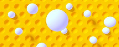 Abstract dotted background with flying balls. 3d illustration Royalty Free Stock Photo