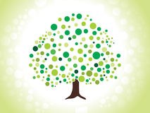 Abstract dotted green tree. Vector illustration Stock Photo