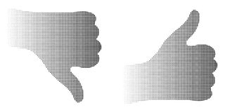 Abstract dotted halftone silhouette thumb hand logo symbol background Royalty Free Stock Image