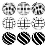 Abstract dotted sphere. Vector illustration of an abstract dotted, swirls and grill spheres Royalty Free Stock Photography