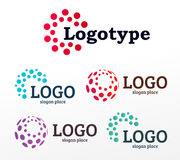 Abstract dotted vector logos template set. Miscellaneous universal isolated unusual logotype collection. Stock Image
