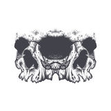 Abstract dotwork grunge horror skull. royalty free illustration