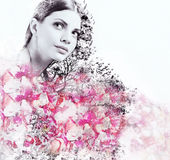 Abstract double exposure of attractive woman and petal of roses Royalty Free Stock Photo