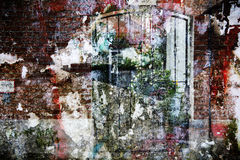 Abstract double exposure of a brick wall with a gateway. Abstract art, background texture, double exposure of a brick wall with a gateway to the backyard and stock images