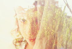 Abstract Double exposure of romantic nature landscape and cute happy kid Royalty Free Stock Images