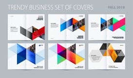 Abstract double-page brochure design hexagon style with colourful triangles for branding. Business vector presentation Stock Image