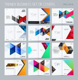Abstract double-page brochure design hexagon style with colourful triangles for branding. Business vector presentation Stock Photos