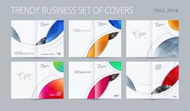 Abstract double-page brochure design round style with colourful circles for branding. Business vector presentation. Abstract brochure in round smooth design stock illustration