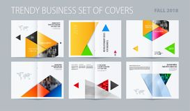 Abstract double-page brochure material design style with colourful layers for branding. Business vector presentation. Abstract brochure in material design style Royalty Free Stock Photo