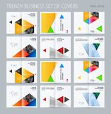 Abstract double-page brochure material design style with colourful layers for branding. Business vector presentation. Abstract brochure in material design style Stock Photos