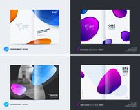 Abstract double-page cover brochure design soft style with colourful shapes waves for branding. Business bifold vector stock illustration