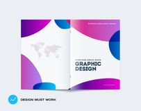 Abstract double-page cover brochure design soft style with colourful shapes waves for branding. Business bifold vector. Abstract design bifold brochure in modern stock illustration