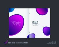 Abstract double-page cover brochure design soft style with colourful shapes waves for branding. Business bifold vector vector illustration