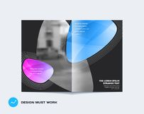 Abstract double-page cover brochure design soft style with colourful shapes waves for branding. Business bifold vector. Abstract design bifold brochure in modern vector illustration