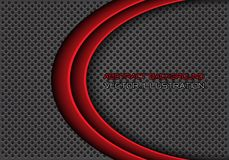Abstract double red curve on gray circle mesh design modern futuristic background vector. Illustration stock illustration