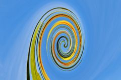 Abstract double spiral structure blue, grenn yellow stock photos