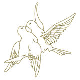 Abstract Doves. Design element for design creation - gold - Doves Stock Photo