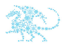 Abstract dragon from snowflakes. Royalty Free Stock Images