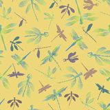 Abstract dragonflies with lace design wings and their silhouettes on a summery yellow background. Seamless vector pattern. Ideal for home decor, apparel, paper vector illustration