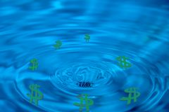 Abstract drain money, bankruptcy, green dollars Royalty Free Stock Photo