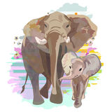 Abstract draw of elephant family (mom and baby) Royalty Free Stock Photos