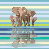 Abstract draw of elephant family (mom dad kids) at watering Royalty Free Stock Image