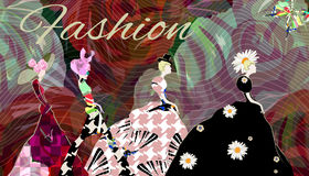 Abstract draw girl model, dress royalty free illustration