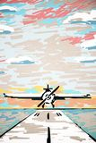Abstract airplane on runway drawing. Abstract drawing of airplane on runway. Sky background. Art concept Stock Images