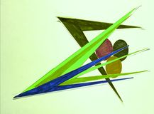 Abstract drawing, arrows,  group decision. Abstract drawing, pen and  markers, colors, background, arrows, green, group, elegancy, design Stock Image