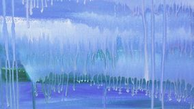 Abstract drawing of blue paint, dripping drops video. Full hd stock footage