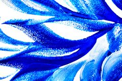 Abstract drawing brush in the form of leaves blue paint Royalty Free Stock Photography