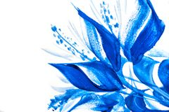 Abstract drawing brush in the form of leaves blue paint Royalty Free Stock Images