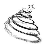 Abstract Drawing Christmas Fir Tree Black Silhouette with Sketch Stock Photography