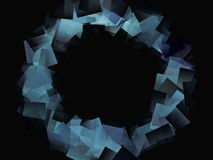 Abstract drawing of a circle of large blue squares Stock Photo