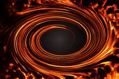 An abstract drawing consisting of swirling spirals of the color of fire. An abstract drawing consisting of swirling spirals of fire and coal around the edges Stock Photography