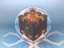Abstract drawing cube in a glass bowl in the fire high temperature glow orange Stock Image