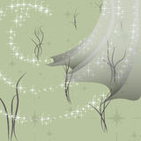Abstract drawing with curtains and stars in the wind. Wind from stars develops curtain on a grass background Stock Photos