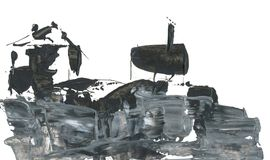 Two houses on the hill, drawing with acrylic and pen, abstraction. Abstract drawing of destroyed houses, black and white graphic drawing with acryl and pen Stock Photos