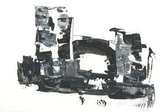 Fortress, the old castle, drawing with acrylic, abstract drawing. Abstract drawing of the destroyed old fortress, with a stone bridge, black and white graphics Stock Image
