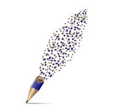 Abstract drawing. destruction of a pencil. 3D design Stock Photo