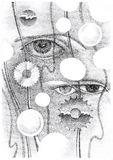 Abstract drawing of the eye and objects Royalty Free Stock Images