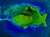 Abstract drawing of a fish in water. Abstract colorful fish on the background of waves Stock Images