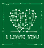 Abstract drawing in form heart with elements computer and motherboard Stock Photos