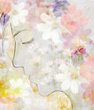Abstract drawing a girl face profile watercolor Royalty Free Stock Photo