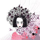 Abstract drawing of a girl over the floral background Royalty Free Stock Images